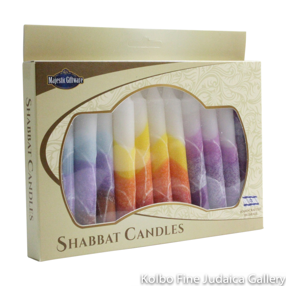 Shabbat Candles, Three Color Combinations, Box of 12
