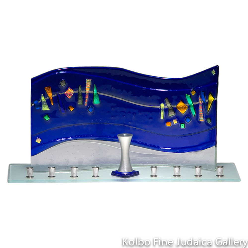 Menorah, Blue Swirl Glass Design, Colorful Dichroic Details