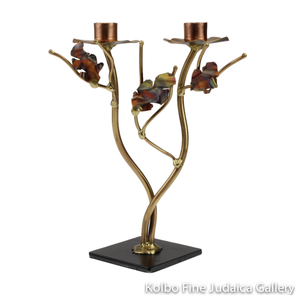 Candlesticks, Even Height with Metallic Leaves, Brass and Copper