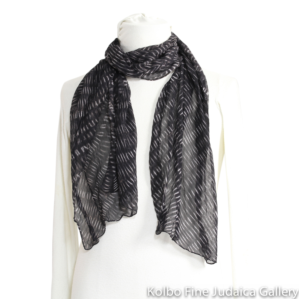 Scarf, Patterned Silk Chiffon, Black and white Natural Dyes