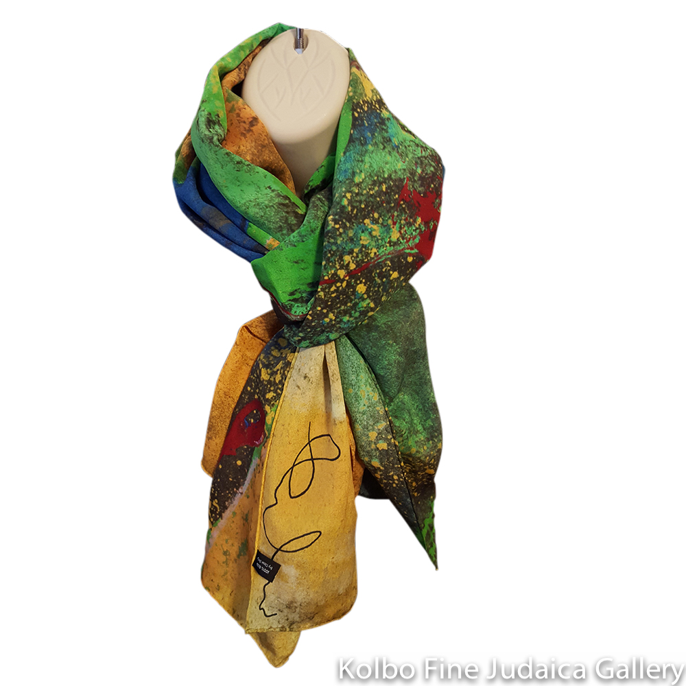 Scarf, Colors of Earth, Design from Original Painting, Hand-Hemmed Crepe de Chinen Silk