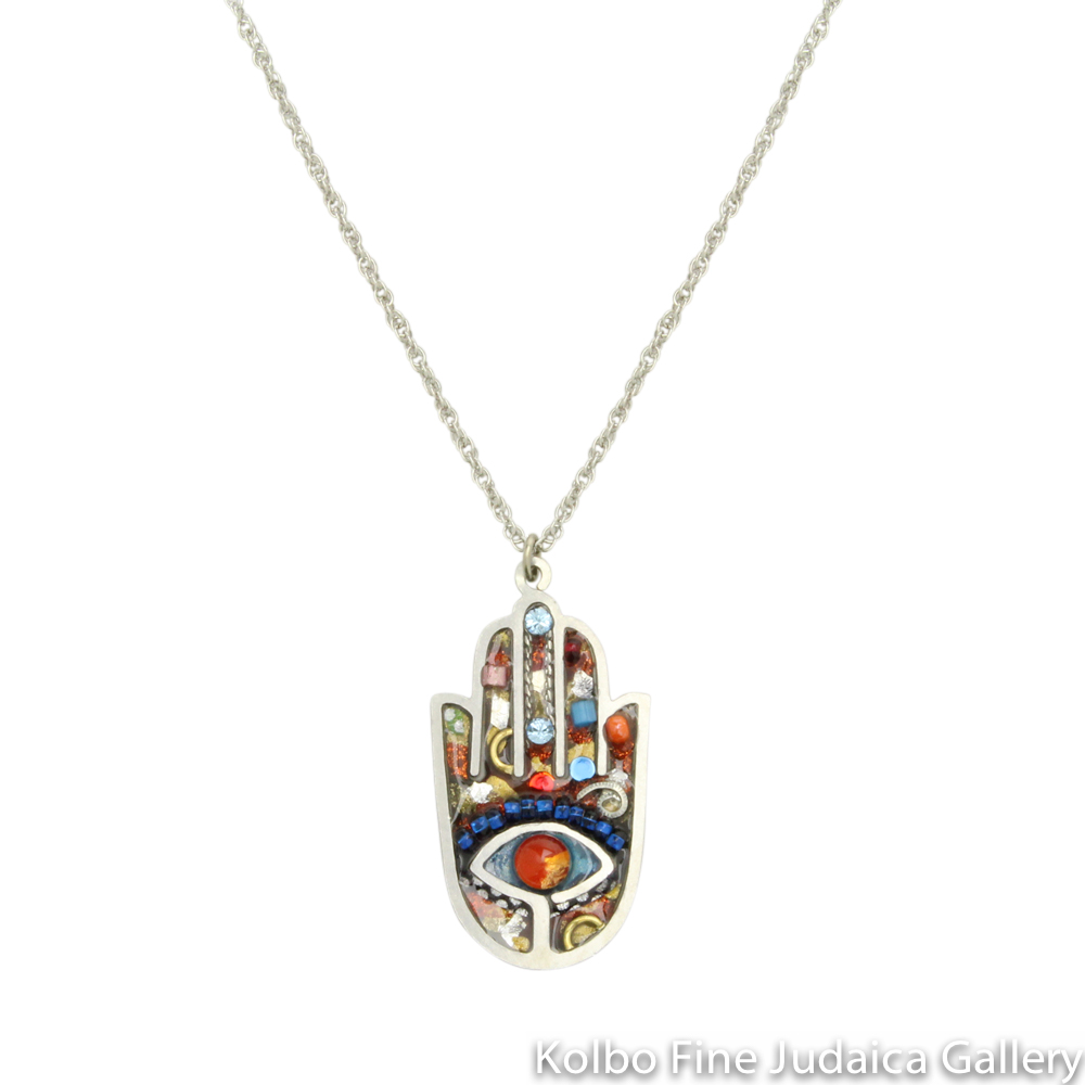 Necklace, Multicolor Artazia Hamsa, Resin on Stainless Steel with Crystals and Blue Beads