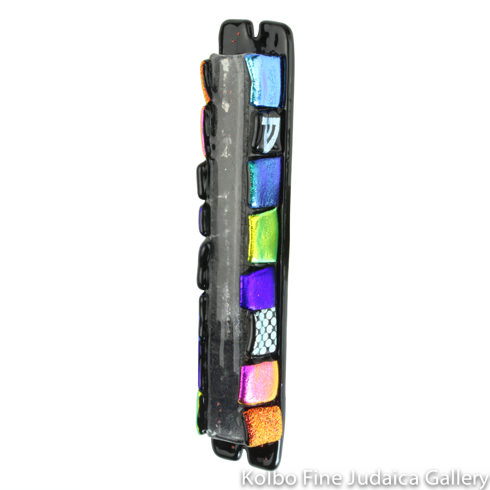 Mezuzah, Black Design with Bold Dichroic Colors, Fused Glass