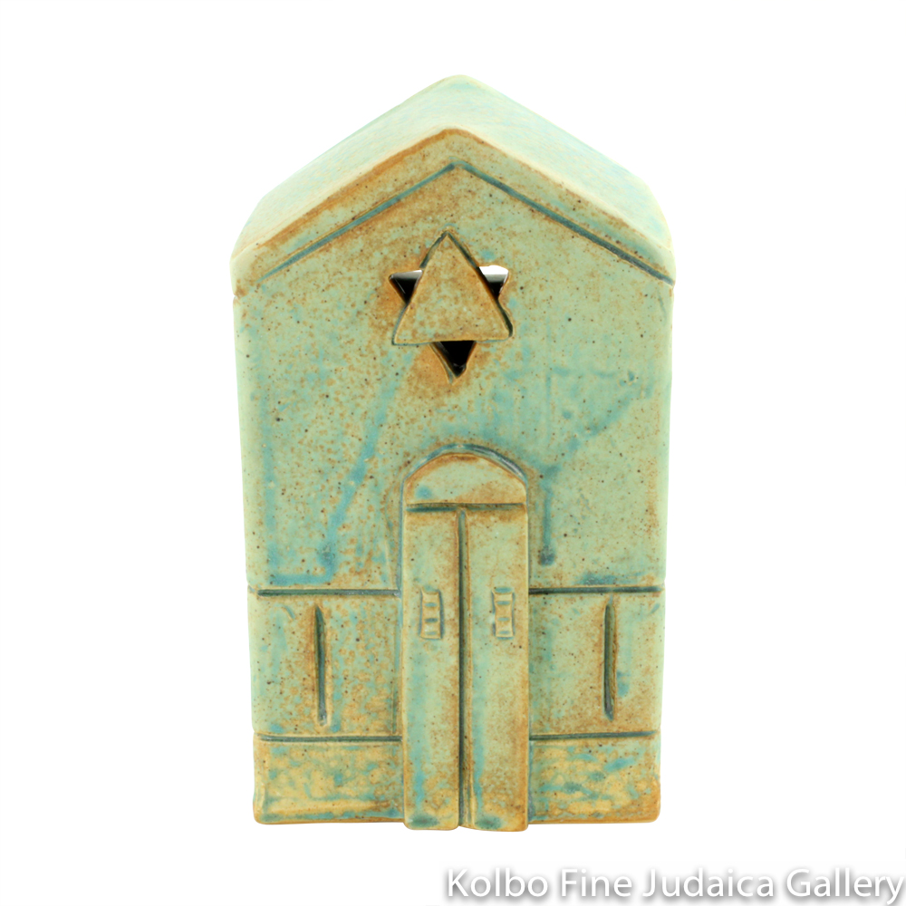 Tzedakah Box, Large Shul Design, Ceramic with Patina Glaze