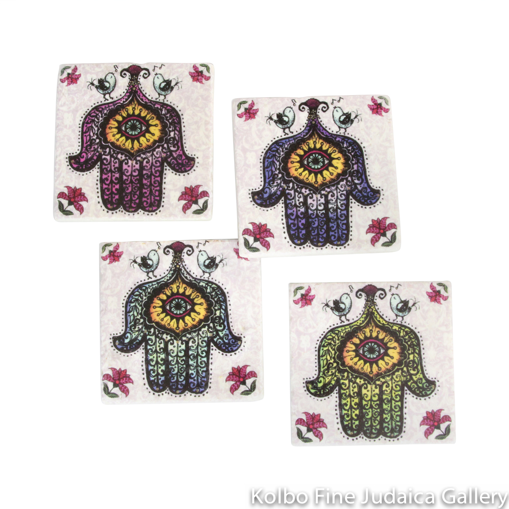 Coasters, Hamsa Design, Printed on Botticino Marble with Cork Backing, Set of Four