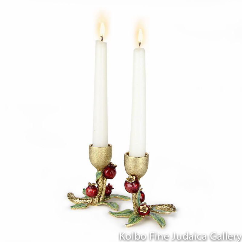 Candlesticks, Pomegranate Design, Gold-Plated Pewter, Red and Green Enamel