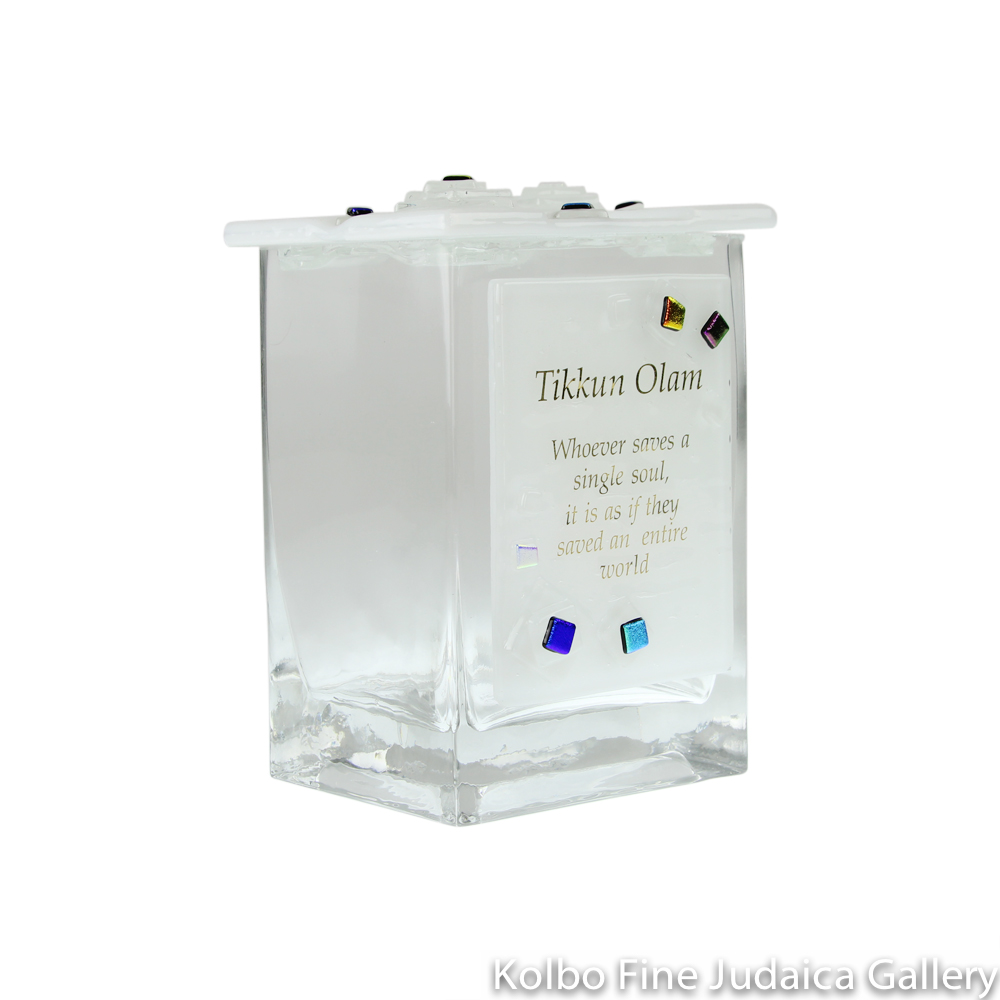 Tzedakah Box, Geo Design with Tikkun Olam, Fused Glass