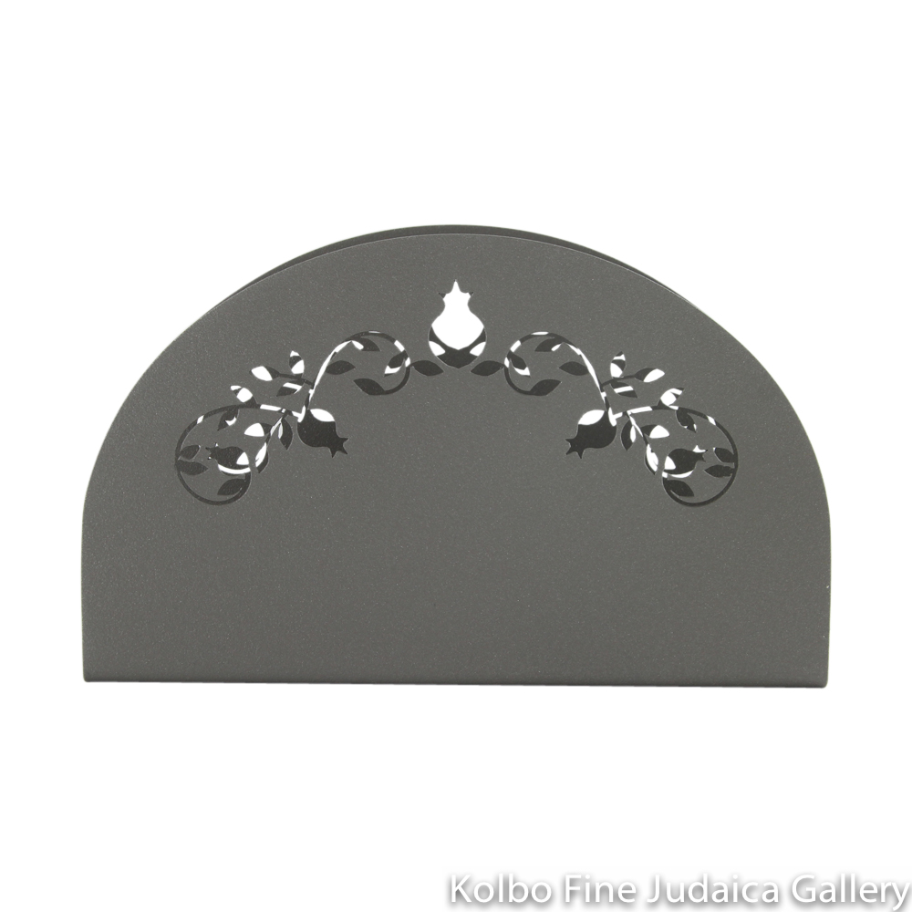 Matzah Holder, Upright Style, Pomegranate Cut Out Design, Gray Coated Stainless Steel