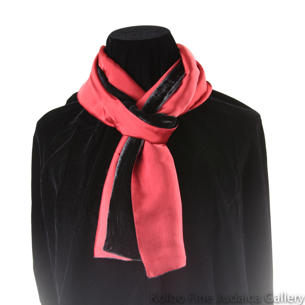 Scarf, Black and Red Two-Tone Design, Velvet and Silk, Hand-Made