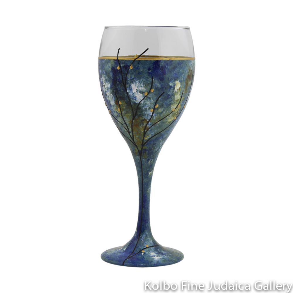 Kiddush Cup, Hand-Painted Glass with Blue and Green Tones