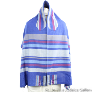 Tallit Set, Royal Blue with Maroon and Gray, Hand-Spun Cotton and Silk, with Bag, Ethically and Sustainably Made