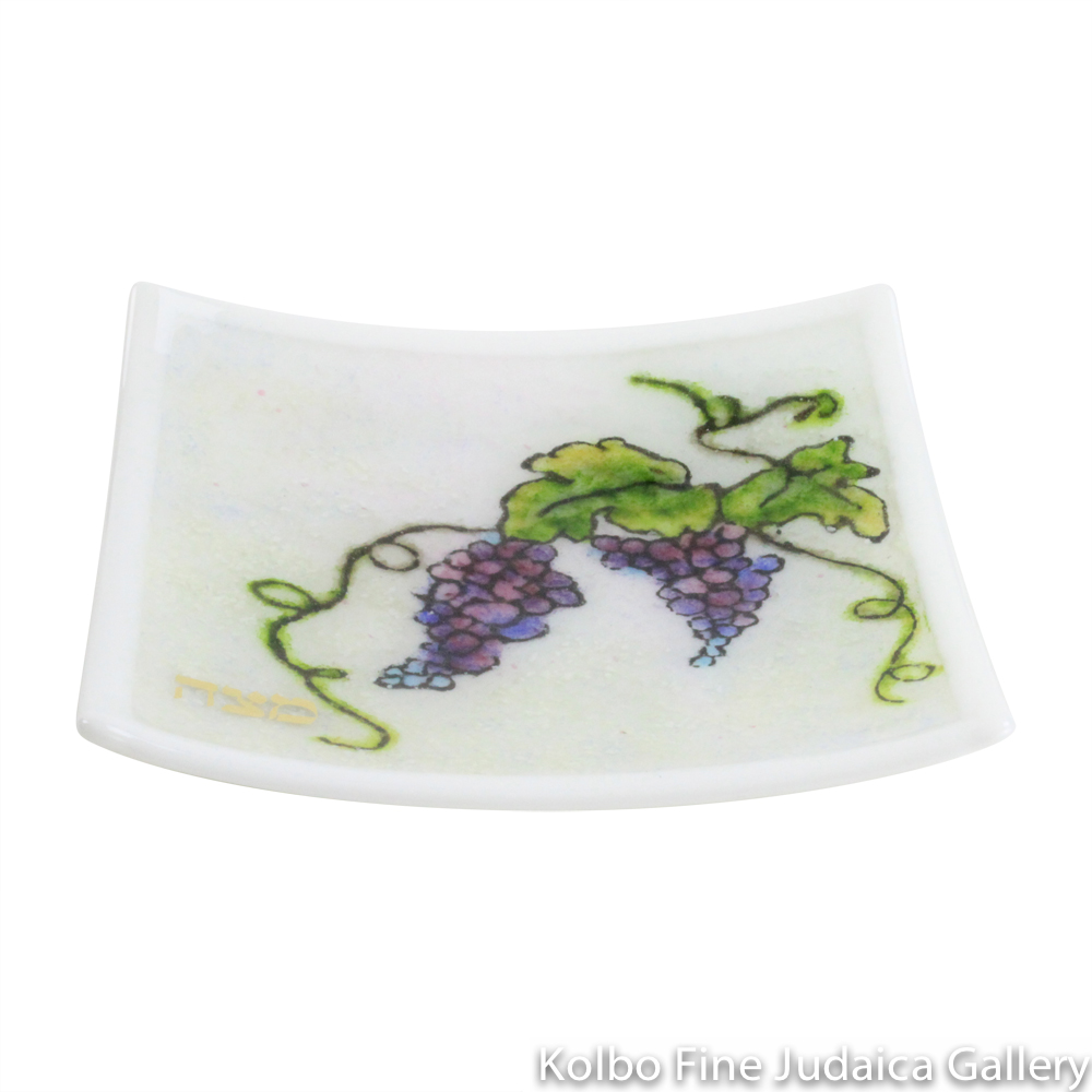 Matzah Plate, Kilnformed Glass, Grape Style, One-of-a-Kind