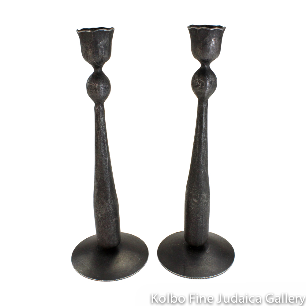 Candlesticks with Ball Taper, Nine Inches, Wrought Iron