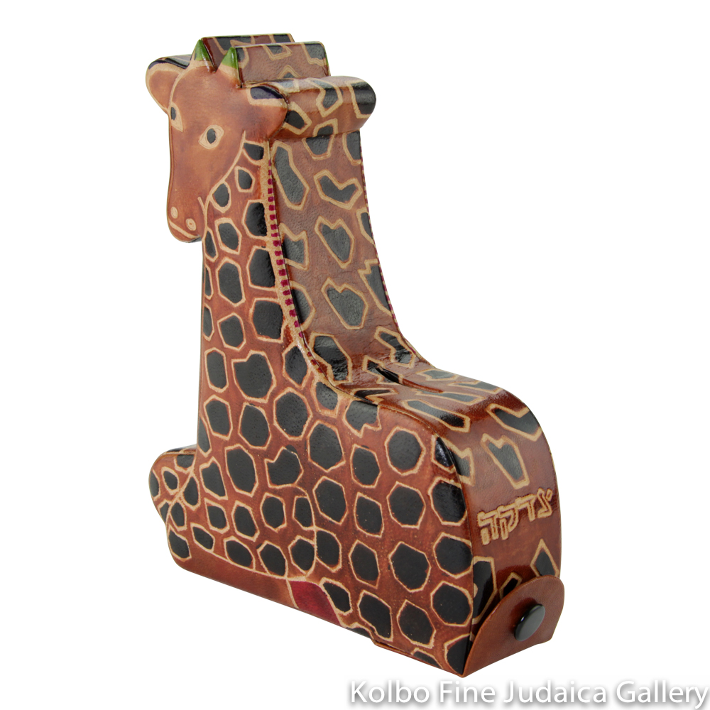 Tzedakah Box, Giraffe Design, Hand Painted Tooled Leather