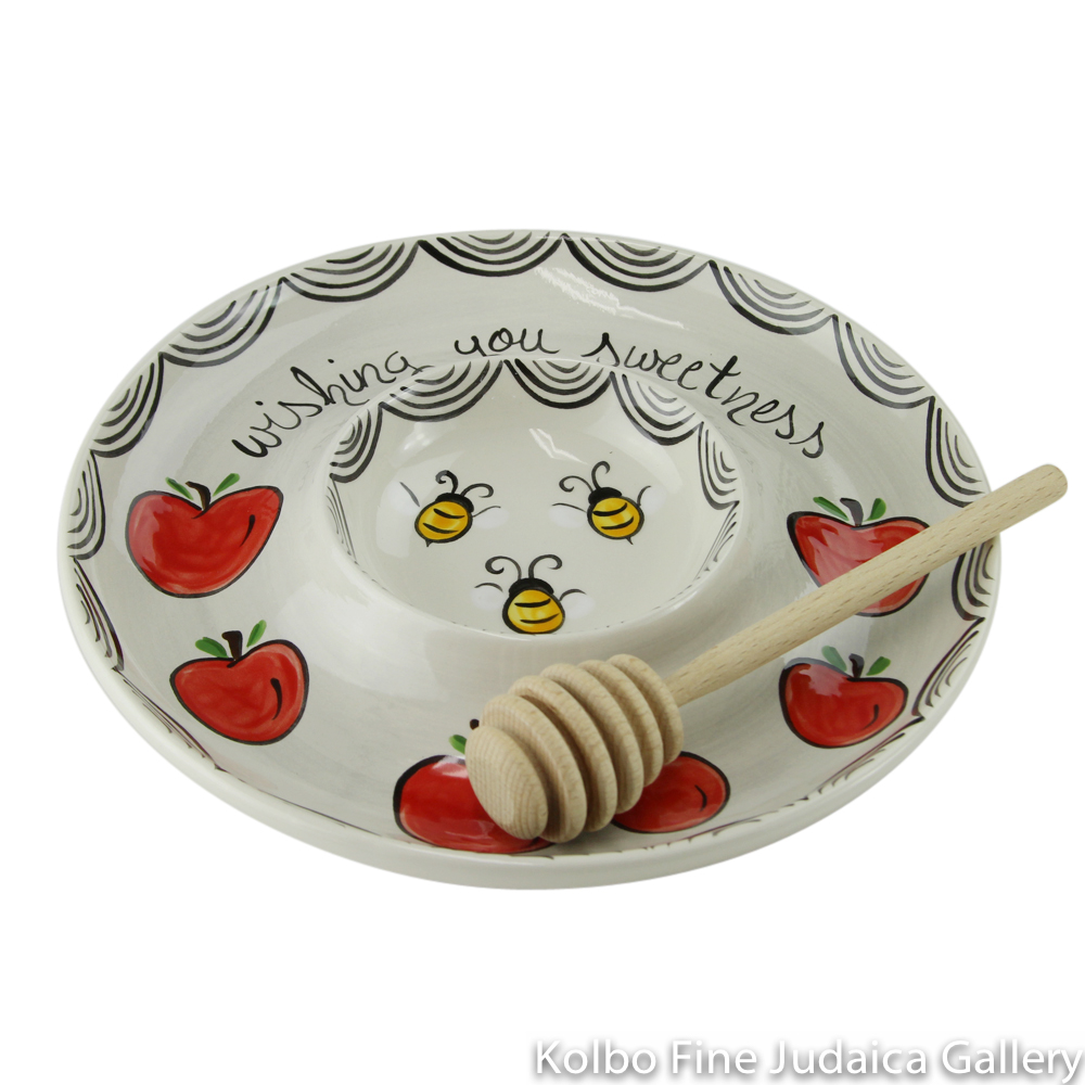 "Honey and Apple Set, Red Apples, Honey Bees, and ""Wishing You Sweetness,"" Painted Ceramic"