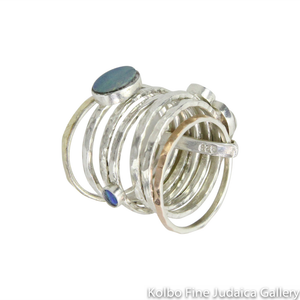 Ring, Stackable Hammered Bands with Blue Opals, Sterling Silver and Gold Filled