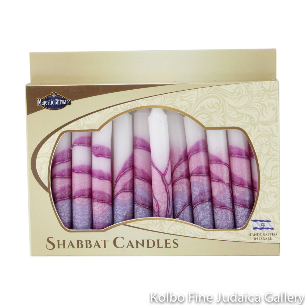 Shabbat Candles, Purple Tones, Box of 12, Unscented Dripless Paraffin