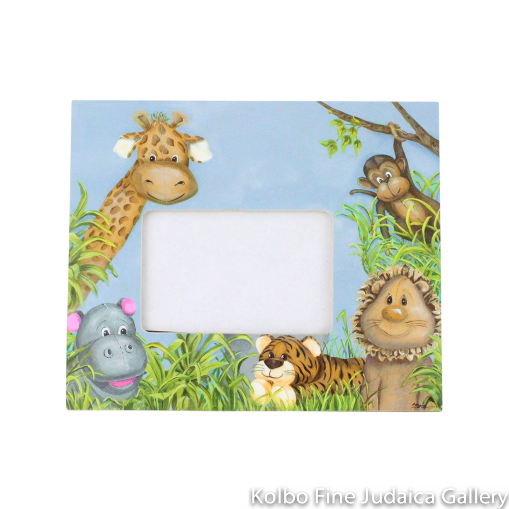 Frame, 4'' x 6'' Off-Center Zoo Animals Design with Blue Background, Painted Wood
