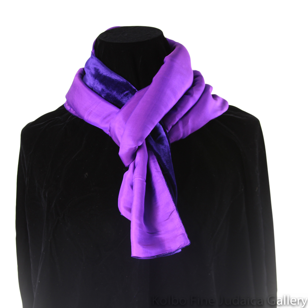 Scarf, Deep Purple and Violet Two-Tone Design, Velvet and Silk, Hand-Made