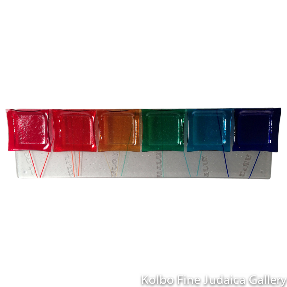 Seder Plate, Rainbow Lines, Elongated Design, Glass
