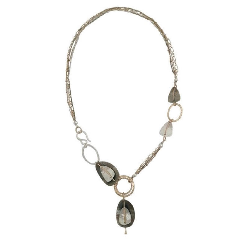 Necklace, Multistrand Chain with Side Hook, Sterling Silver and Gold-Filled Organic Shapes