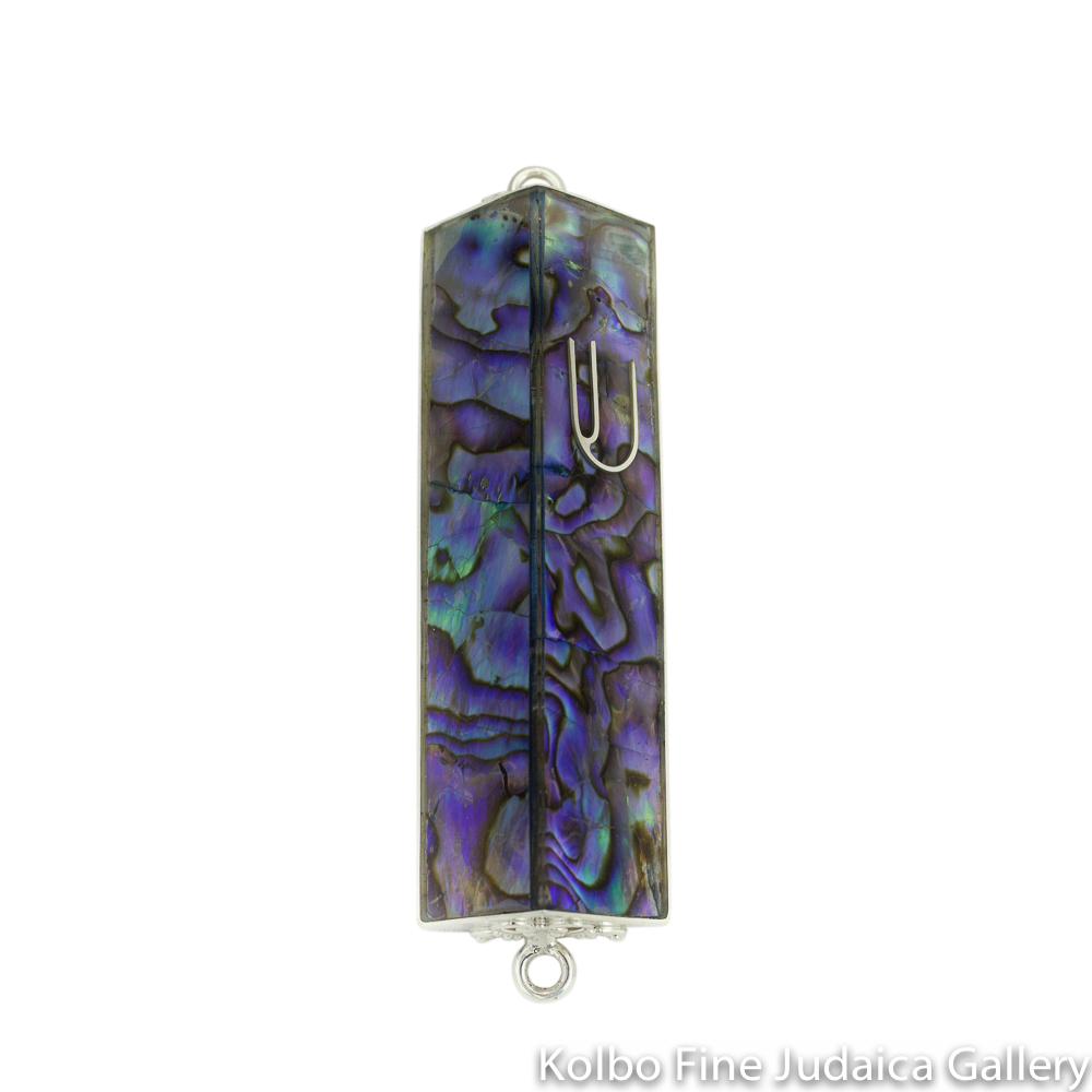 Mezuzah, Triangular Abalone Shell and Sterling Silver