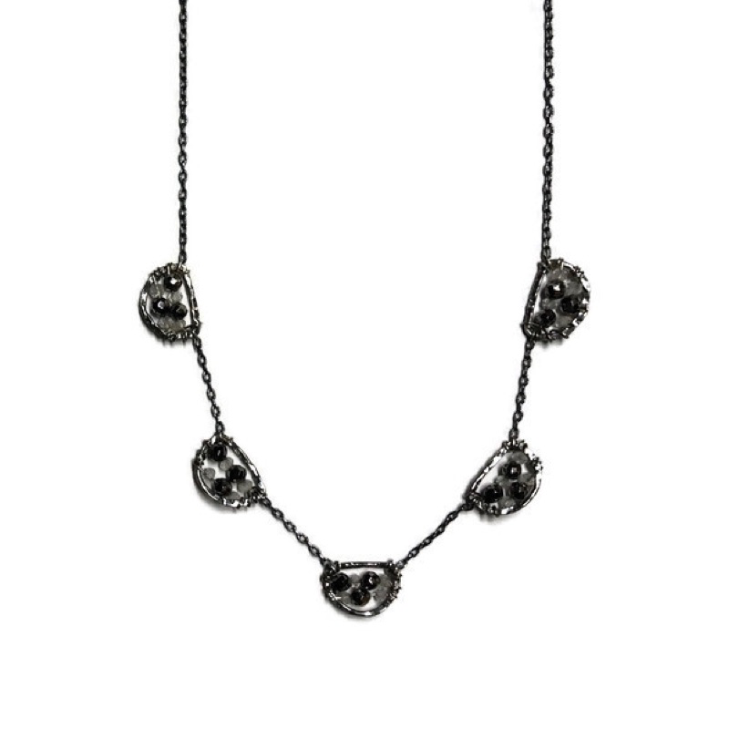 Necklace, Five Beaded Petals with Pyrite and White Natural Zircon on Dark Oxidized Sterling Silver Chain