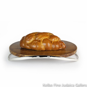 Challah Board, Contemporary Reversible Design, Wood with Pewter Handles