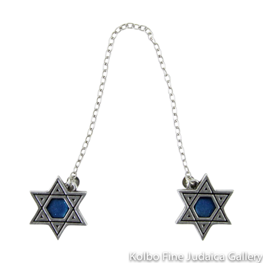 Tallit Clips, Star Design in Royal Blue, Pewter with Enamel