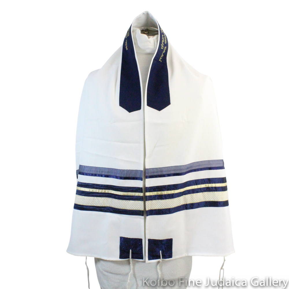 Tallit Set, Patterned Stripe Design in Navy Blue and Gold on White, Viscose