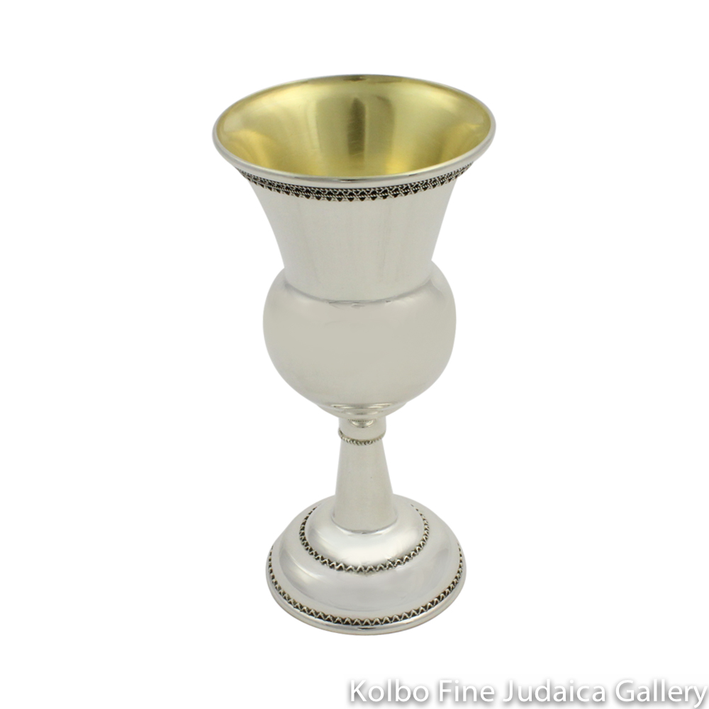 Kiddush Cup, Bubble and Fine Filigree, Sterling Silver