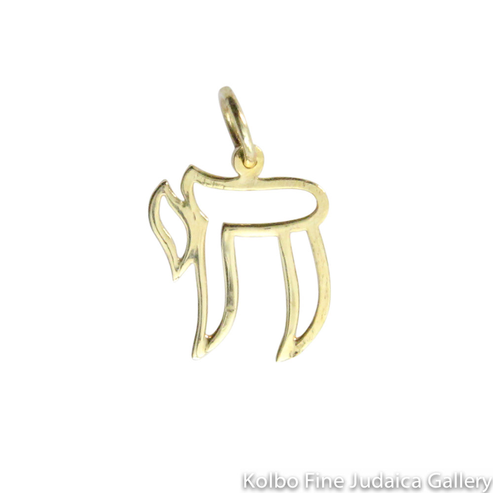 Pendant, Small Lightweight Outlined Chai, 14K Gold