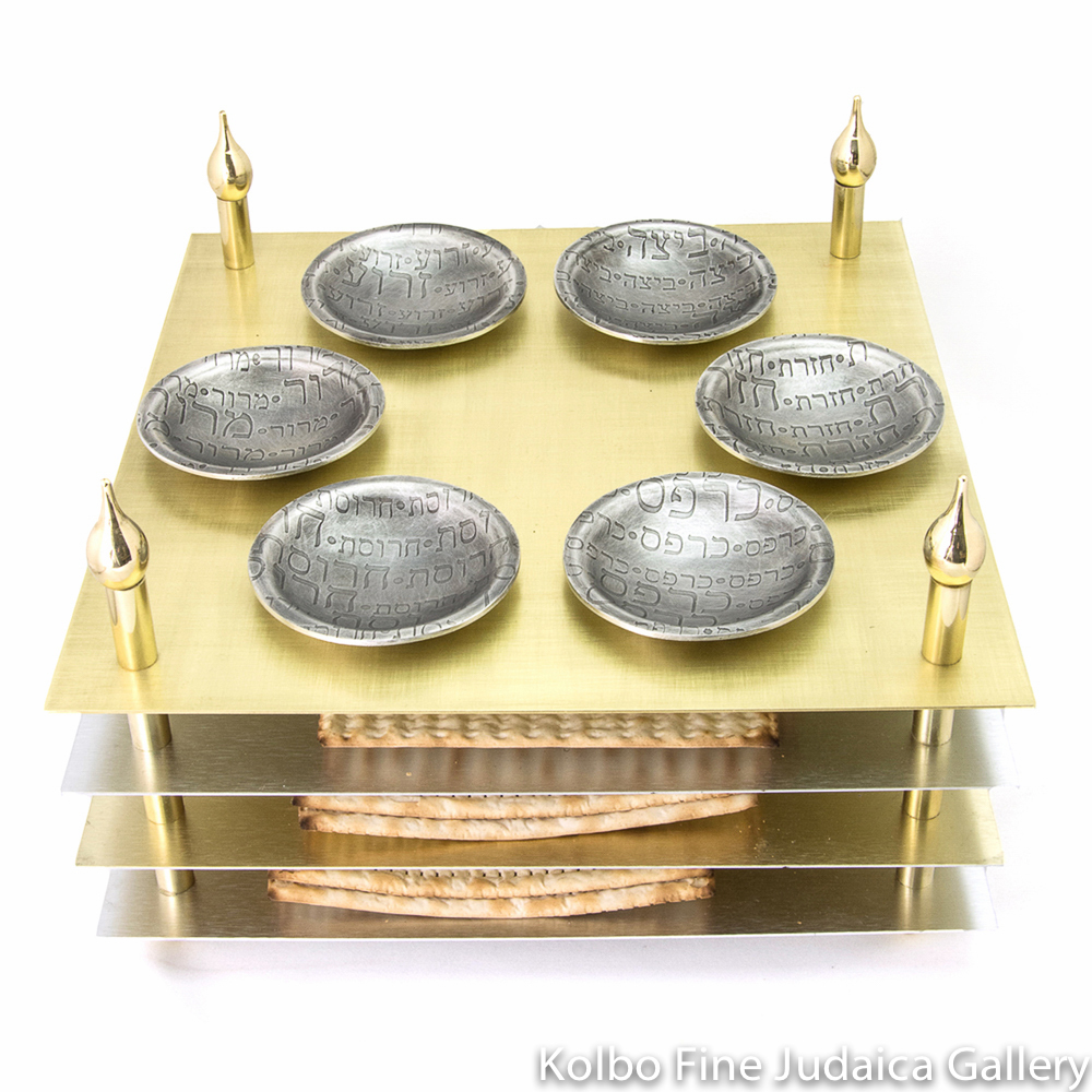 Seder Plate, Four-Layered Design, Mixed Metals