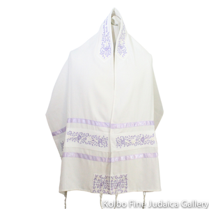 Tallit Set, Embroidered Vine Design in Lavender on White Brushed Cotton