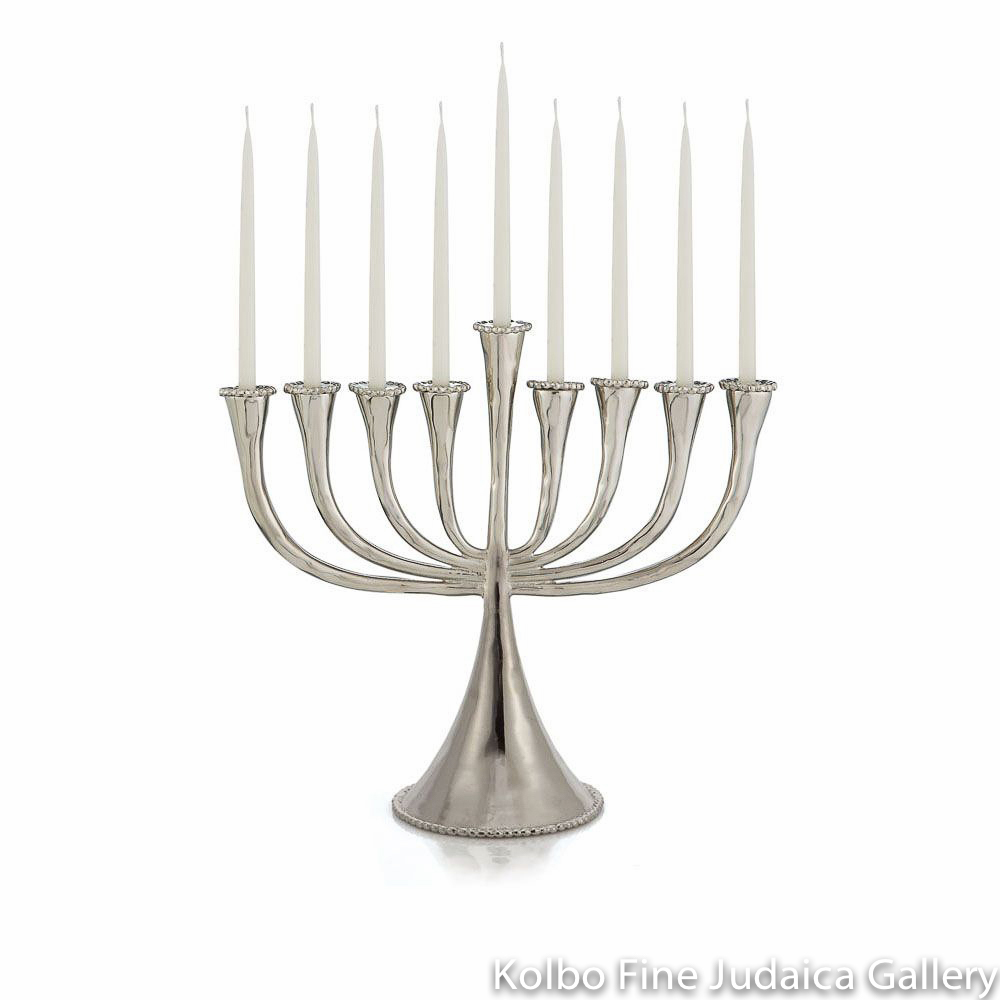 Menorah, Molten Design, Nickel Plate