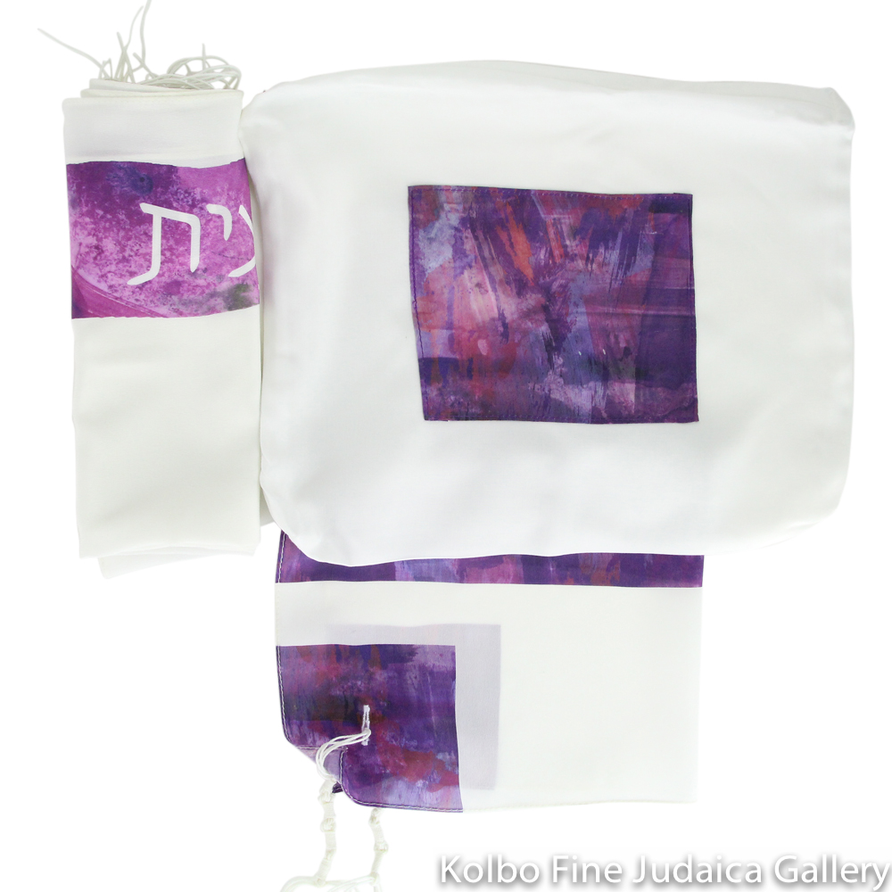 Tallit Set, Fuchsia Watercolor Block, Silk