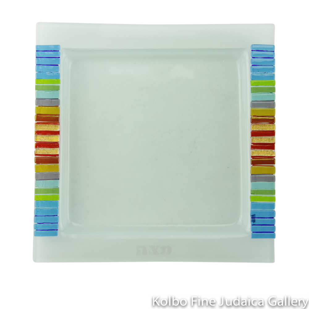 Matzah Plate, Fused Glass, Rainbow Edging with Red in Center and Gold Dichroic Highlights