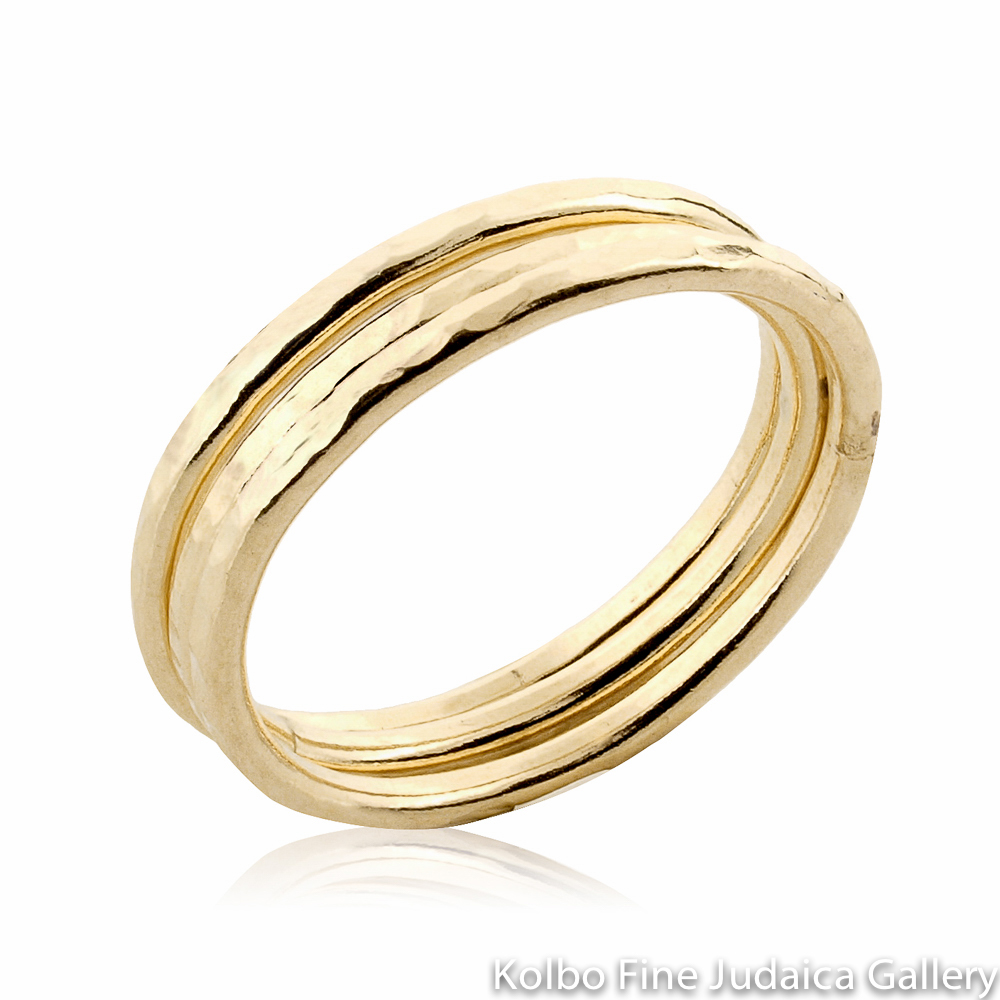 Ring Set, Thin Hammered Bands, Gold-Filled