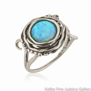 Ring, Sterling Silver with Large Opal Nested in Swirls