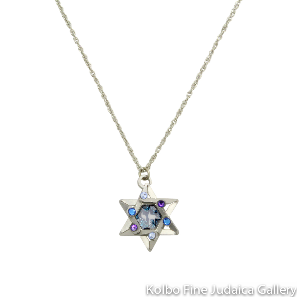 Necklace, Star and Chai Pendant in Blues, Resin on Stainless Steel with Crystals