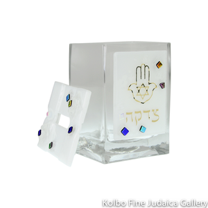 Tzedakah Box, Geo Design with Hamsa, Fused Glass