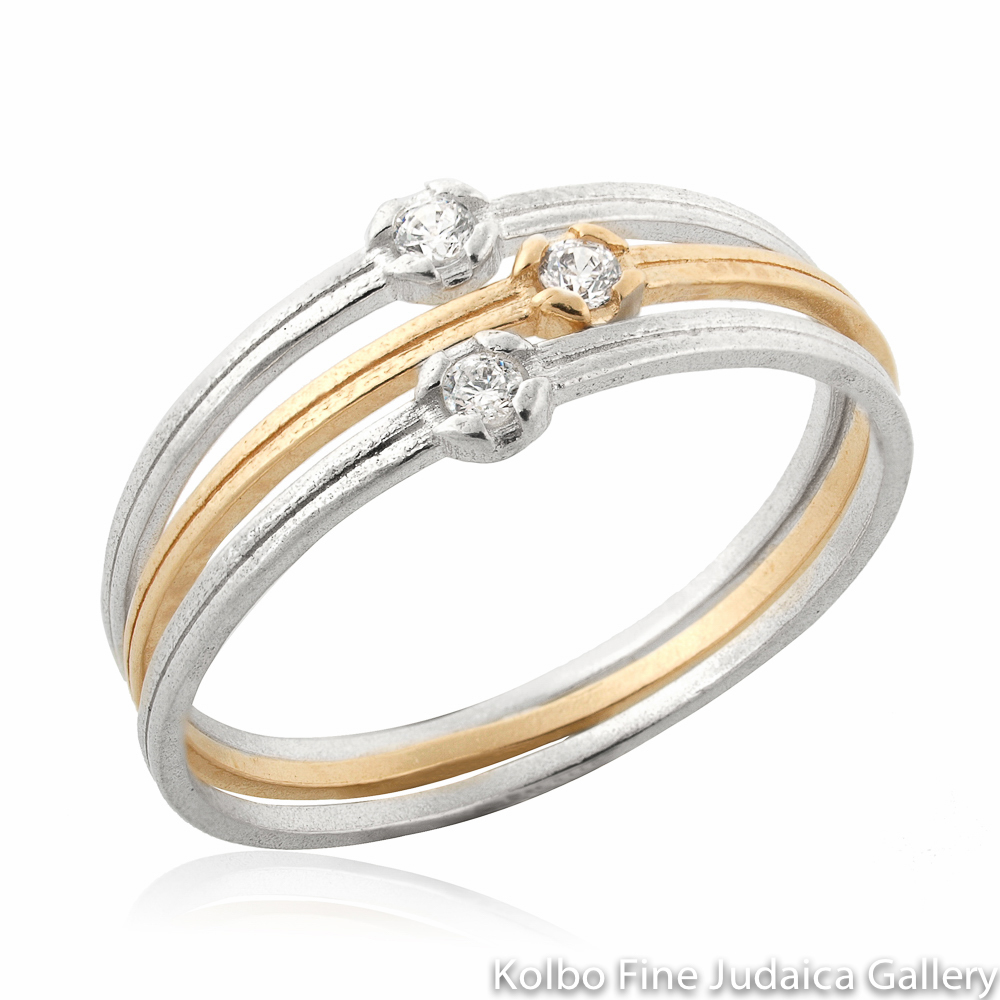 Ring Set, Thin Double Bands, Each With Cubic Zirconia, Sterling Silver and Gold-FIlled Bands