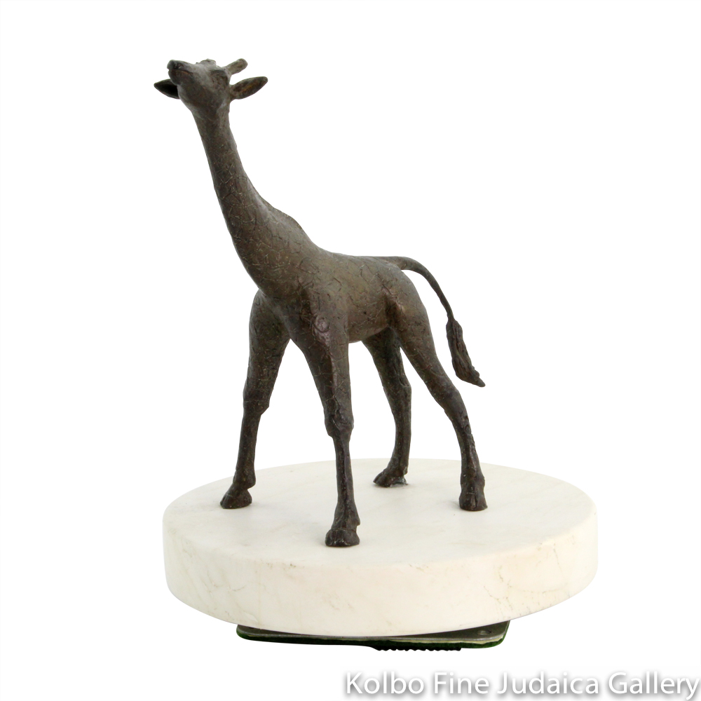 Reflective Baby Giraffe, Bronze Sculpture on Marble, 7''