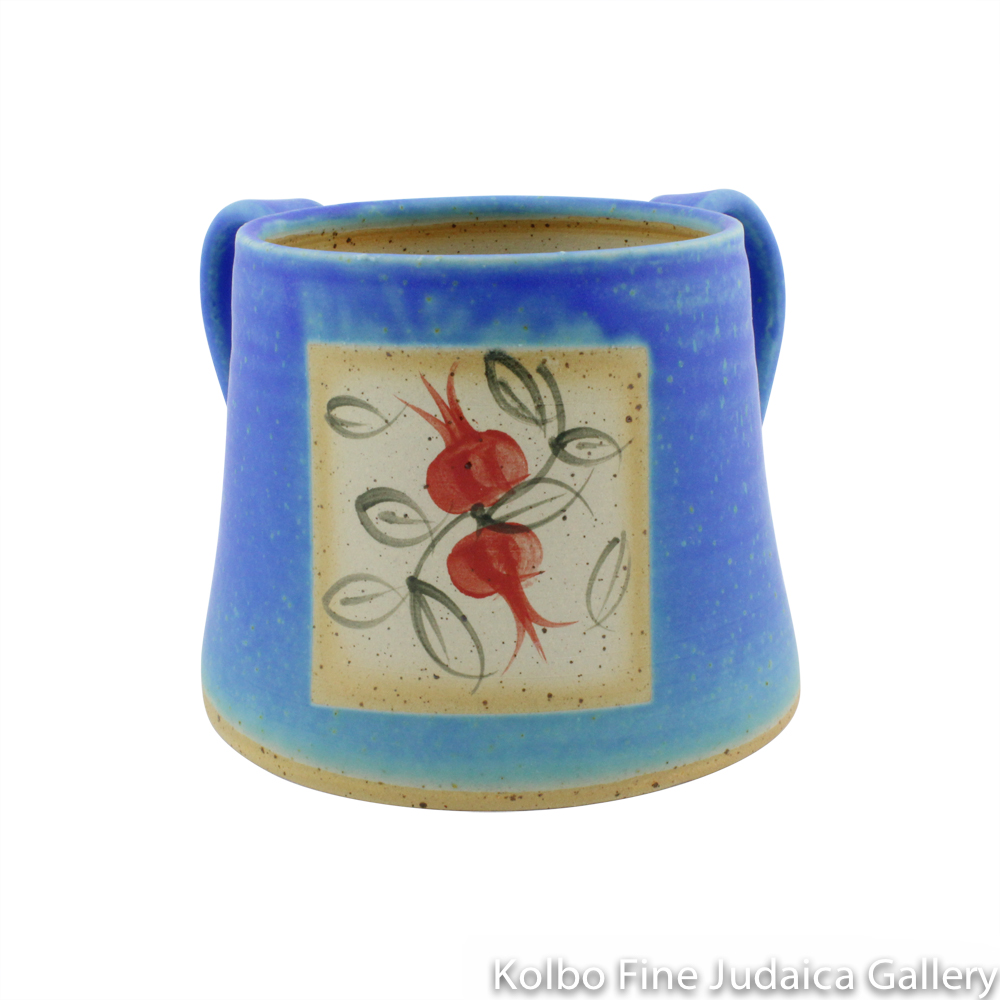 Hand Washing Cup, Turquoise with Pomegranate Design, Ceramic