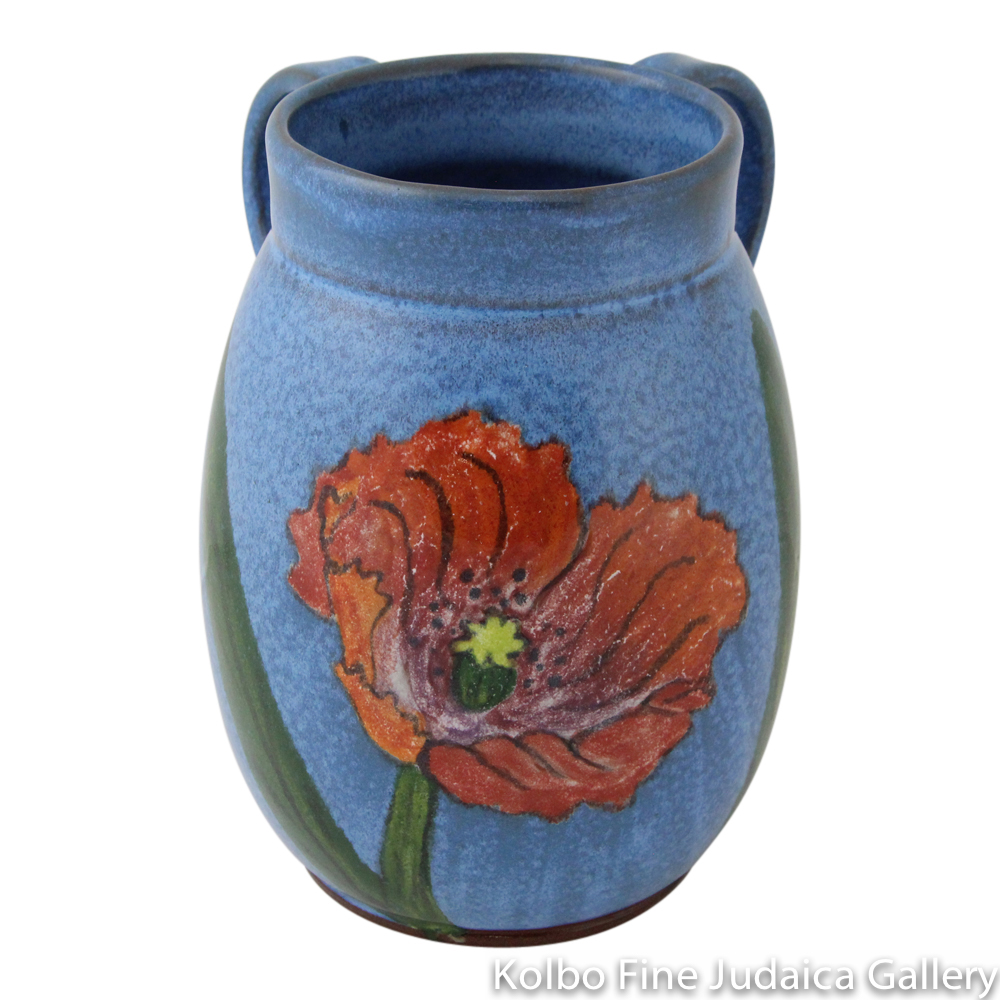 Hand Washing Cup, Floral Design with Soft Turquoise Glaze, Hand Painted Ceramic