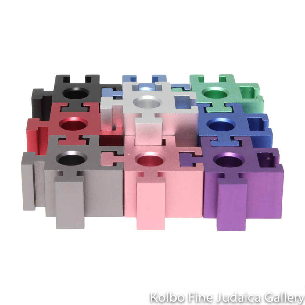 Menorah, Travelling Puzzle Piece with Multicolor Design, Anodized Aluminum