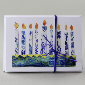 Chanukah Cards, Dreidels and Menorah Designs, Set of 9
