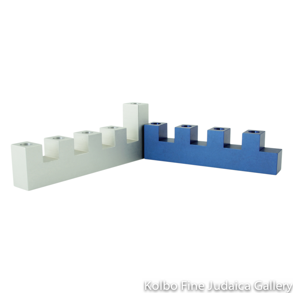 Menorah, Interlocking Traveling Design, Navy Blue and Natural Aluminum