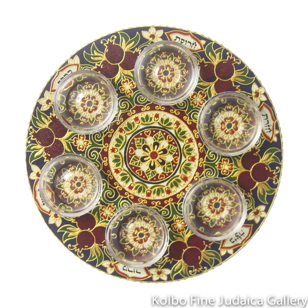 Seder Plate, Hand-Painted Wood with Glass Bowls, Pomegranate Design with Navy, Green, Cream, and Gold Details, One-of-a-Kind, #20
