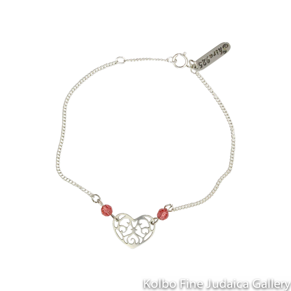 Bracelet, Heart Design with Filigree Cutout, Pink Crystals, Sterling Silver